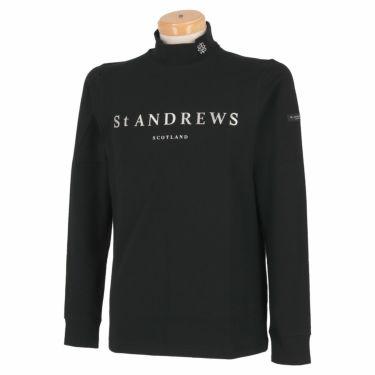 セントアンドリュース St ANDREWS メンズ ロゴプリント ベア天竺 長袖 ハイネックシャツ 042-1266951 2021年モデル ブラック(010)