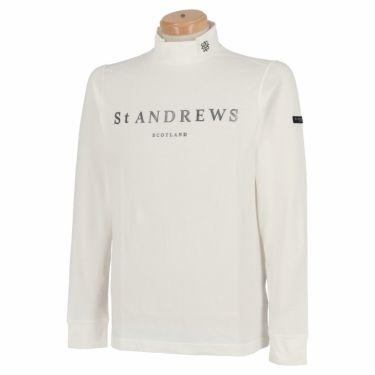 セントアンドリュース St ANDREWS メンズ ロゴプリント ベア天竺 長袖 ハイネックシャツ 042-1266951 2021年モデル ホワイト(030)