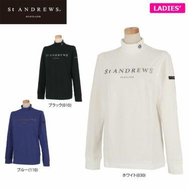 セントアンドリュース St ANDREWS レディース ロゴプリント ベア天竺 長袖 ハイネックシャツ 043-1266952 2021年モデル 詳細1