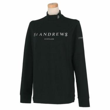 セントアンドリュース St ANDREWS レディース ロゴプリント ベア天竺 長袖 ハイネックシャツ 043-1266952 2021年モデル ブラック(010)