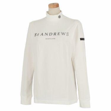 セントアンドリュース St ANDREWS レディース ロゴプリント ベア天竺 長袖 ハイネックシャツ 043-1266952 2021年モデル ホワイト(030)