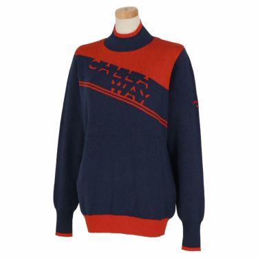 キャロウェイ Callaway レディース ロゴジャガード 配色切替 長袖 ハイネック セーター C21218202 2021年モデル ネイビー(1120)