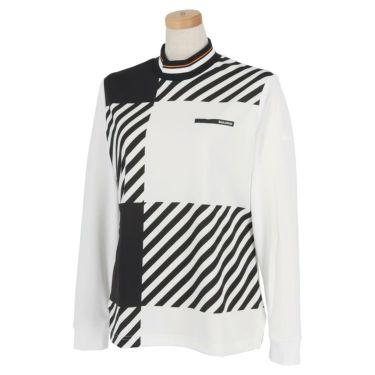 ブラック&ホワイト Black&White ホワイトライン レディース チェック柄 長袖 モックネックシャツ BLF9201WD 2021年モデル ホワイト(10)