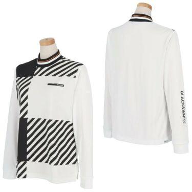ブラック&ホワイト Black&White ホワイトライン レディース チェック柄 長袖 モックネックシャツ BLF9201WD 2021年モデル 詳細3