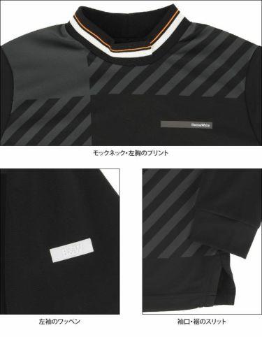 ブラック&ホワイト Black&White ホワイトライン レディース チェック柄 長袖 モックネックシャツ BLF9201WD 2021年モデル 詳細4