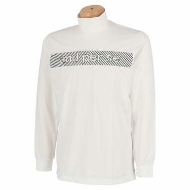 アンパスィ and per se メンズ ロゴプリント ストレッチ 長袖 ハイネックシャツ AMF9201W1 2021年モデル ホワイト(10)