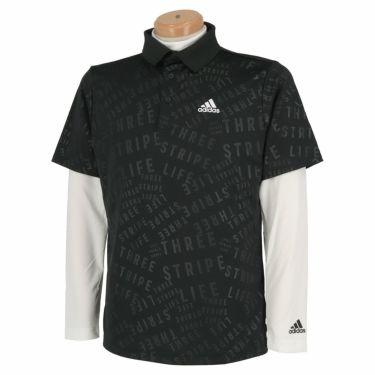 アディダス adidas メンズ PRIMEGREEN タイポグラフィ柄 半袖 ポロシャツ & 長袖 モックネックシャツ BO104 2021年モデル ブラック(GU6125)