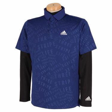アディダス adidas メンズ PRIMEGREEN タイポグラフィ柄 半袖 ポロシャツ & 長袖 モックネックシャツ BO104 2021年モデル ヴィクトリーブルー(GU6124)