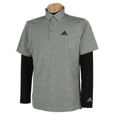 アディダス adidas メンズ PRIMEGREEN タイポグラフィ柄 半袖 ポロシャツ & 長袖 モックネックシャツ BO104 2021年モデル グレースリー(GU6126)
