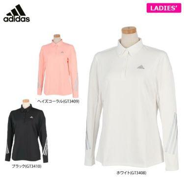 アディダス adidas レディース PRIMEGREEN スリーストライプス 長袖 ボタンダウン ポロシャツ BO350 2021年モデル 詳細1