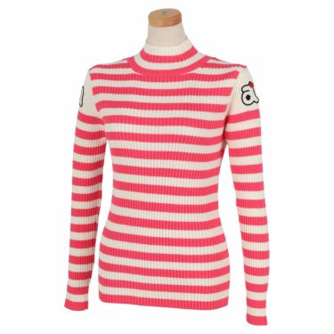 アルチビオ archivio レディース ボーダー柄 ロゴワッペン 長袖 ハイネック セーター A118926 2021年モデル ピンク(225)