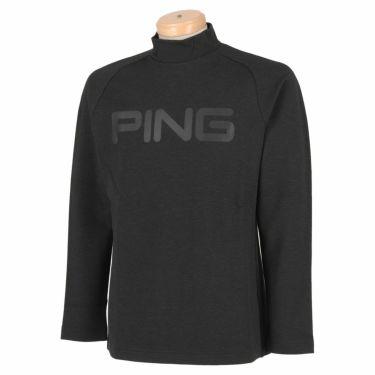 ピン PING メンズ ロゴプリント 裏起毛 長袖 ラグランスリーブ ハイネックシャツ 621-1269001 2021年モデル チャコールグレー(021)