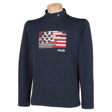 ピン PING メンズ プリントデザイン 長袖 モックネックシャツ 621-1269005 2021年モデル ネイビー(120)