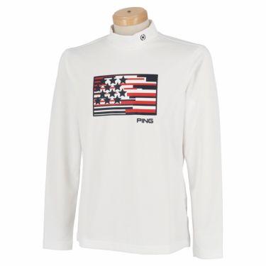 ピン PING メンズ プリントデザイン 長袖 モックネックシャツ 621-1269005 2021年モデル ホワイト(030)