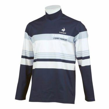 ルコック Le coq sportif メンズ マルチボーダー柄 長袖 ハイネックシャツ QGMSJB03 2021年モデル ネイビー(NV00)