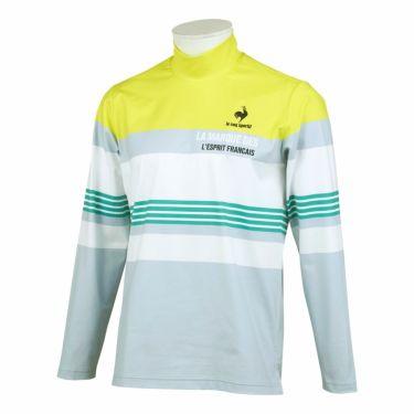 ルコック Le coq sportif メンズ マルチボーダー柄 長袖 ハイネックシャツ QGMSJB03 2021年モデル ライム/グレー(LMGY)