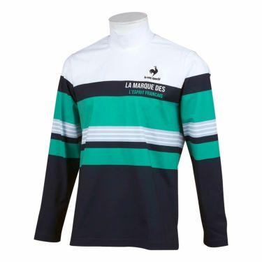 ルコック Le coq sportif メンズ マルチボーダー柄 長袖 ハイネックシャツ QGMSJB03 2021年モデル ホワイト/ネイビー(WHNV)