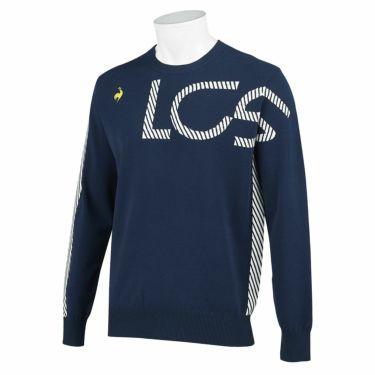 ルコック Le coq sportif メンズ アシンメトリーデザイン ロゴジャカード 長袖 クルーネック セーター QGMSJL00 2021年モデル ネイビー(NV00)