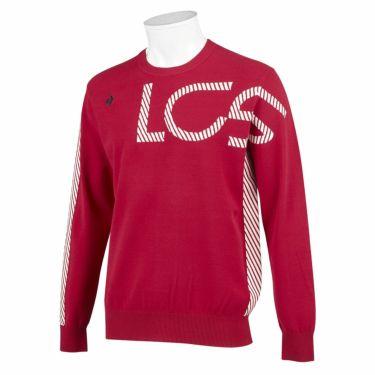 ルコック Le coq sportif メンズ アシンメトリーデザイン ロゴジャカード 長袖 クルーネック セーター QGMSJL00 2021年モデル レッド(RD00)