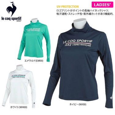ルコック Le coq sportif レディース ロゴプリント 長袖 ハイネックシャツ QGWSJB01 2021年モデル 詳細2