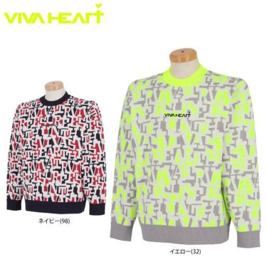 ビバハート VIVA HEART メンズ タイポグラフィ柄 ジャガード 長袖 クルーネック セーター 011-15910 2021年モデル 詳細1