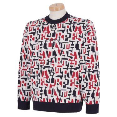 ビバハート VIVA HEART メンズ タイポグラフィ柄 ジャガード 長袖 クルーネック セーター 011-15910 2021年モデル ネイビー(98)