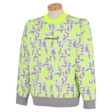 ビバハート VIVA HEART メンズ タイポグラフィ柄 ジャガード 長袖 クルーネック セーター 011-15910 2021年モデル イエロー(32)