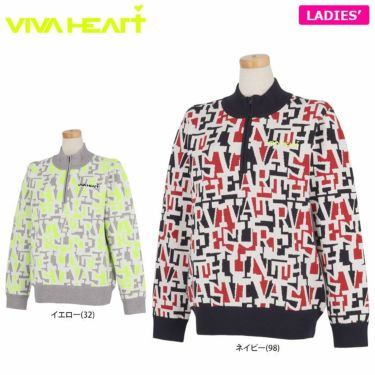 ビバハート VIVA HEART レディース タイポグラフィ柄 ジャガード 長袖 ハーフジップ セーター 012-15911 2021年モデル 詳細1