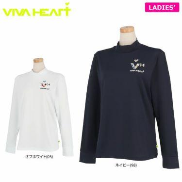 ビバハート VIVA HEART レディース ロゴデザイン ベア天竺 長袖 モックネックシャツ 012-25810 2021年モデル 詳細1