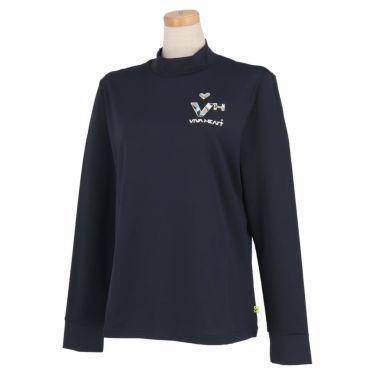 ビバハート VIVA HEART レディース ロゴデザイン ベア天竺 長袖 モックネックシャツ 012-25810 2021年モデル ネイビー(98)