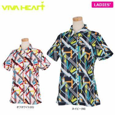 ビバハート VIVA HEART レディース 幾何学柄プリント 鹿の子 半袖 ポロシャツ 012-25841 2021年モデル 詳細1