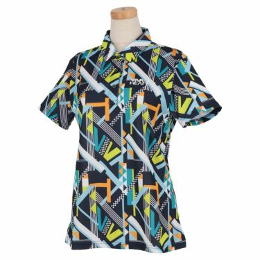 ビバハート VIVA HEART レディース 幾何学柄プリント 鹿の子 半袖 ポロシャツ 012-25841 2021年モデル ネイビー(98)