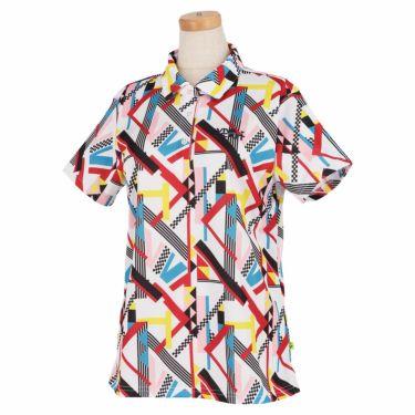 ビバハート VIVA HEART レディース 幾何学柄プリント 鹿の子 半袖 ポロシャツ 012-25841 2021年モデル オフホワイト(05)