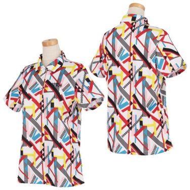 ビバハート VIVA HEART レディース 幾何学柄プリント 鹿の子 半袖 ポロシャツ 012-25841 2021年モデル 詳細3