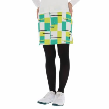 ルコック Le coq sportif レディース ロゴ刺繍 カラーブロック ストレッチ スカート QGWSJE05 2021年モデル エメラルド(EM00)