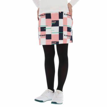 ルコック Le coq sportif レディース ロゴ刺繍 カラーブロック ストレッチ スカート QGWSJE05 2021年モデル ピンク(PK00)