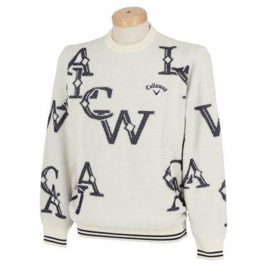 キャロウェイ Callaway メンズ ロゴジャガード 長袖 クルーネック セーター C21218108 2021年モデル ホワイト(1031)