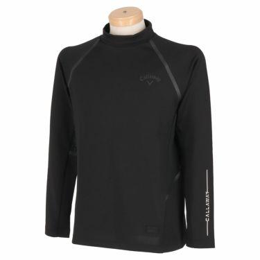 キャロウェイ Callaway メンズ ロゴプリント メッシュ切替 長袖 モックネックシャツ C21233105 2021年モデル ブラック(1010)