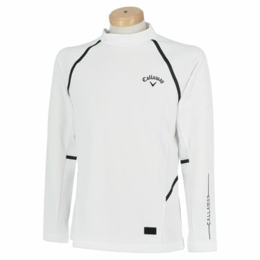 キャロウェイ Callaway メンズ ロゴプリント メッシュ切替 長袖 モックネックシャツ C21233105 2021年モデル ホワイト(1030)