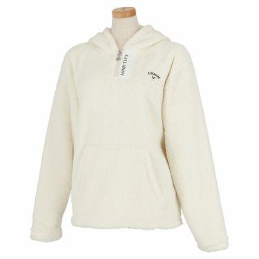 キャロウェイ Callaway レディース ロゴ刺繍 ボアフリース 長袖 ハーフジップ パーカー C21217204 2021年モデル ホワイト(1031)