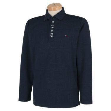 トミー ヒルフィガー ゴルフ メンズ 総柄 ロゴジャガード 長袖 ポロシャツ THMA154 2021年モデル ネイビー(30)