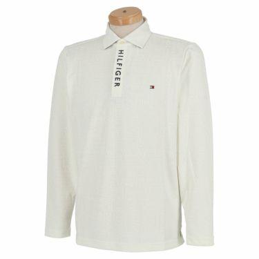 トミー ヒルフィガー ゴルフ メンズ 総柄 ロゴジャガード 長袖 ポロシャツ THMA154 2021年モデル ホワイト(00)
