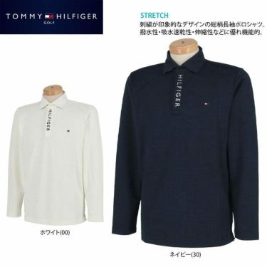 トミー ヒルフィガー ゴルフ メンズ 総柄 ロゴジャガード 長袖 ポロシャツ THMA154 2021年モデル 詳細2