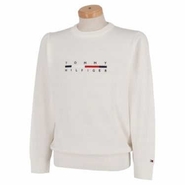 トミー ヒルフィガー ゴルフ メンズ ロゴ刺繍 長袖 クルーネック セーター THMA165 2021年モデル ホワイト(00)