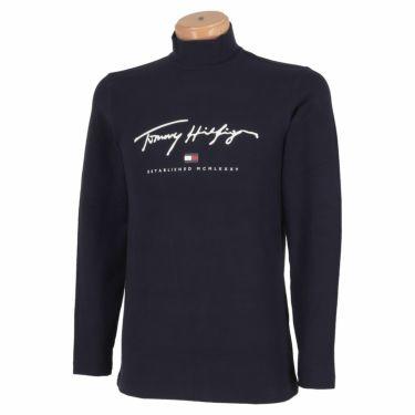 トミー ヒルフィガー ゴルフ メンズ ロゴプリント 長袖 ハイネックシャツ THMA178 2021年モデル ネイビー(30)