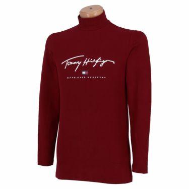 トミー ヒルフィガー ゴルフ メンズ ロゴプリント 長袖 ハイネックシャツ THMA178 2021年モデル ボルドー(55)