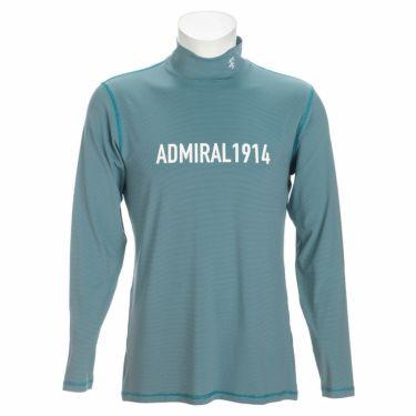 アドミラル Admiral メンズ ロゴプリント マイクロボーダー柄 長袖 ハイネックシャツ ADMA170 2021年モデル ブルー(34)