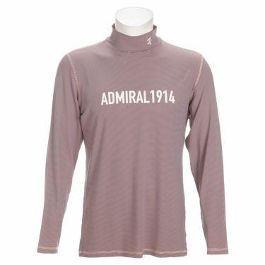 アドミラル Admiral メンズ ロゴプリント マイクロボーダー柄 長袖 ハイネックシャツ ADMA170 2021年モデル ピンク(48)