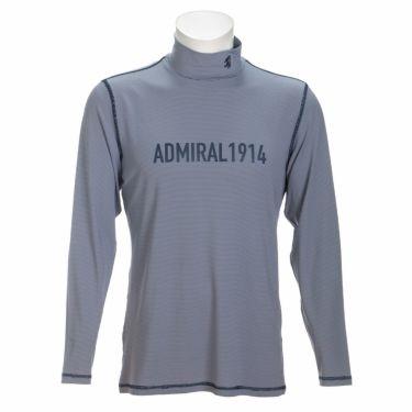 アドミラル Admiral メンズ ロゴプリント マイクロボーダー柄 長袖 ハイネックシャツ ADMA170 2021年モデル ネイビー(30)
