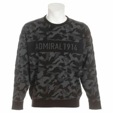 アドミラル Admiral メンズ カモ柄 ジャガード 長袖 クルーネック セーター ADMA1B1 2021年モデル ブラック(10)